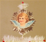 Blue Winged Angel Dresden Tree Topper by Samantha Claus