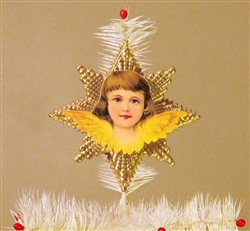 Yellow Winged Angel Dresden Tree Topper by Samantha Claus