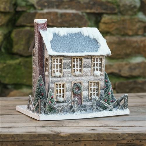 Cardboard Cabin House Glitter Christmas Log Cabin