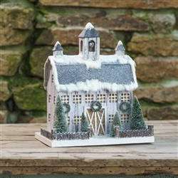 White Dutch Style Cardboard Christmas Barn by Ragon House