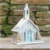 Country Christmas Church with Blue Door by Ragon House