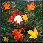 Leaves and Pine Needles Inked Tile by Bonnie Wolfe