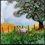 Tile Sheep in Pasture by Bonnie Wolfe