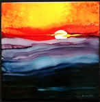 Sunset Inked Tile by Bonnie Wolfe