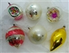 Vintage Glass Ornaments - Balls - Reflectors - Drops - set of 6