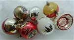 Vintage Glass Ornaments - Balls - Reflectors - Snow Caps set of 7