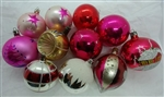 Vintage Glass Ornaments Hand Painted - Balls - Reflector - Snowcap 11 pcs