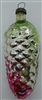 Vintage Russian Glass Pinecone Ornament - Oversized - Silver/Pink/Green