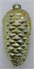 Vintage Russian Glass Pinecone Ornament - Oversized - Yellow