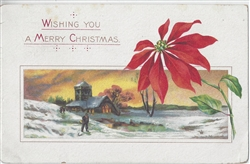 Wishing You a Merry Christmas Vintage Postcard