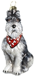 Grey Schnauzer with Bandana Ornament by Joy to the World